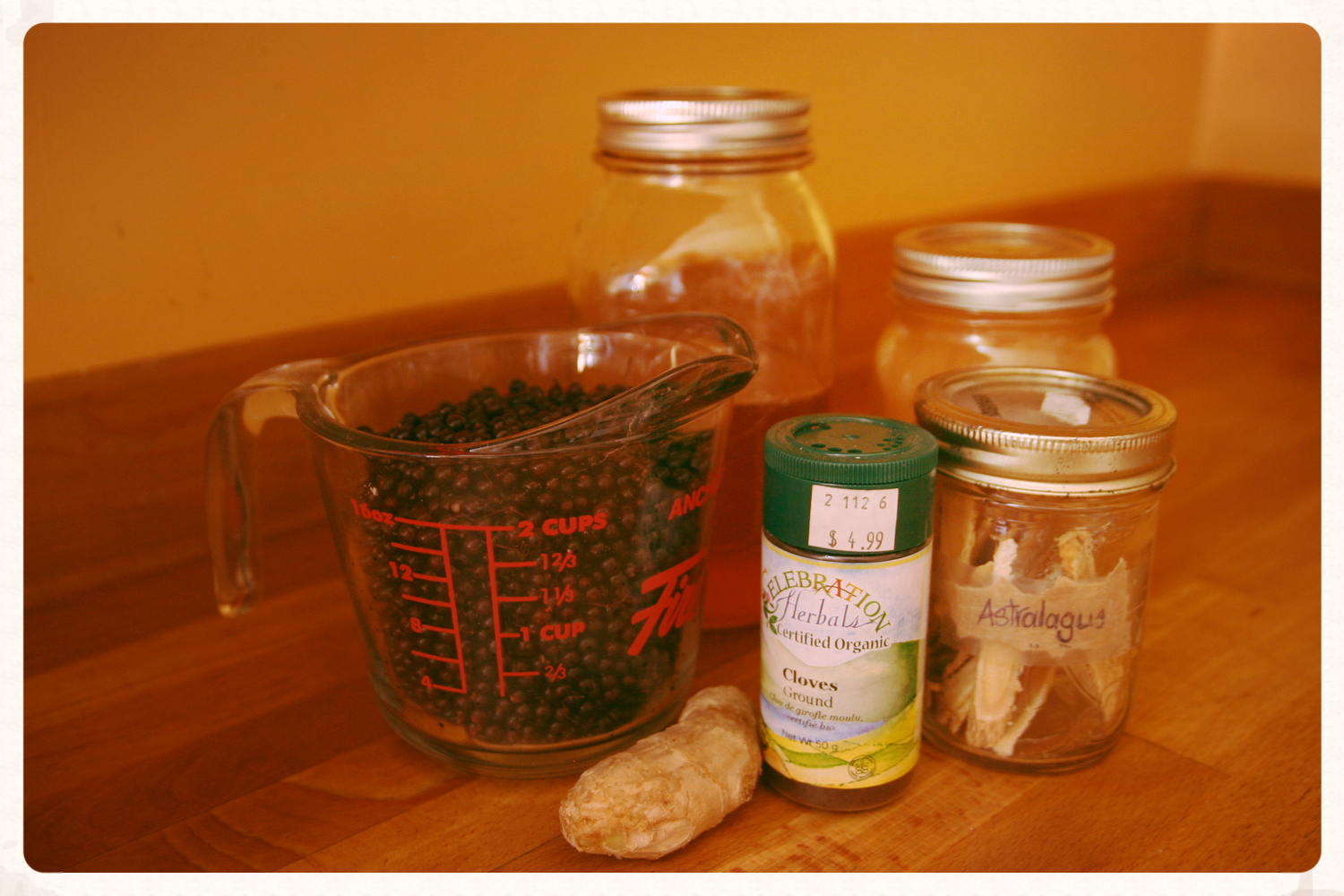 Ingredients for my elderberry syrup