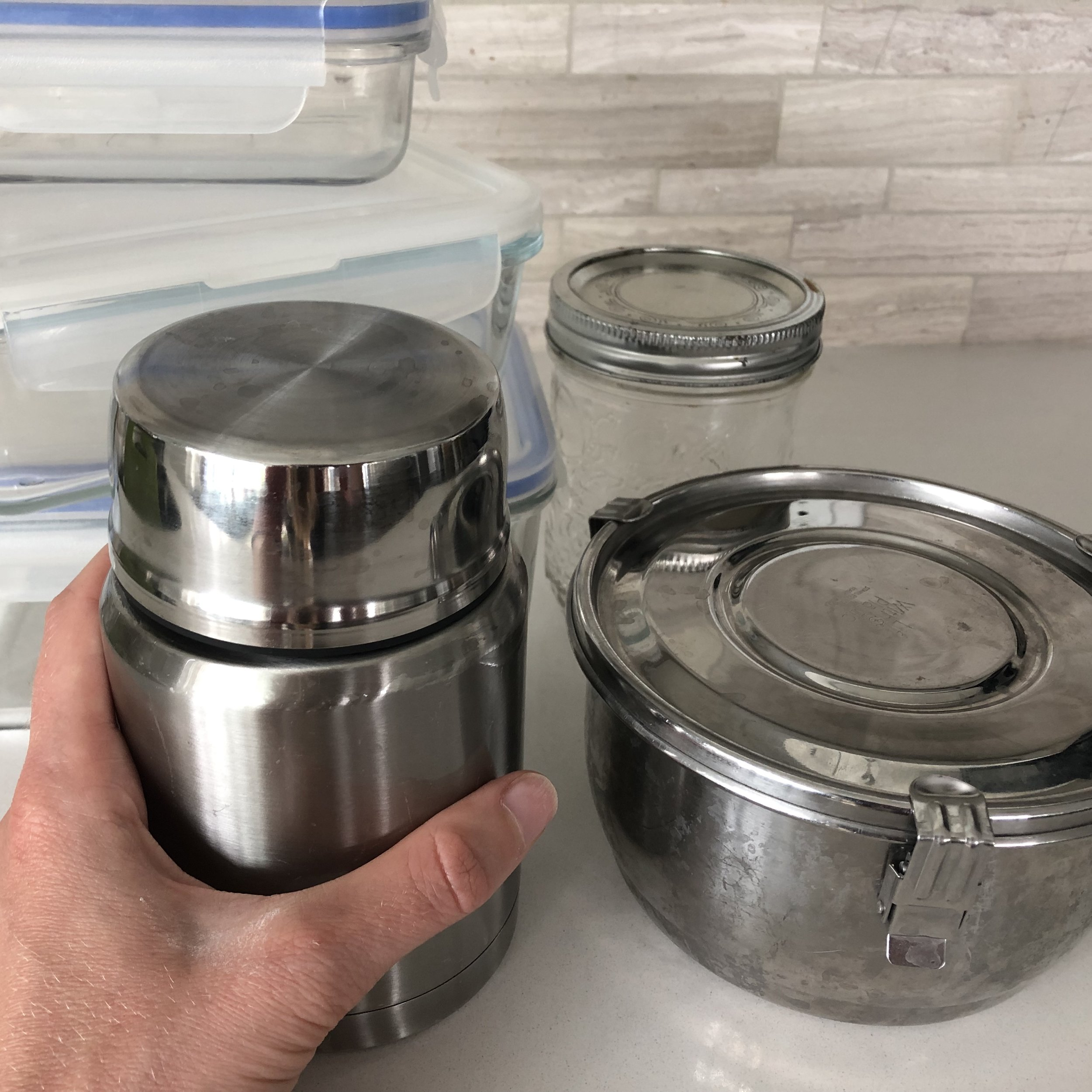 Glass and stainless steel food containers