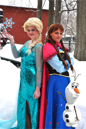Elsa or Anna ~ 1 hour - $90   This includes:   - Story Time - Meet and Greet - Sing-A-Long   - Coloring Pages    Elsa and Anna ~ 1 hour - $165 This includes: - Story Time - Meet and Greet - Sing-A-long - Coloring Pages - Beautiful necklaces - enough to accommodate 8 guests for party favors    We are always open to suggestions, if you have an activity that you would like us to participate in, please contact us we would love to hear from you.    MARKETING APPEARANCE: - Please contact 15monkeyskids@gmail.com for more information  + $25 travel fee over 25 miles from city limits per Character  Gratuities: - Gratuities are not expected and always very much appreciated      15 Monkeys is in not affiliated with the Walt Disney Company. All characters are inspired by ideas from our creative team.