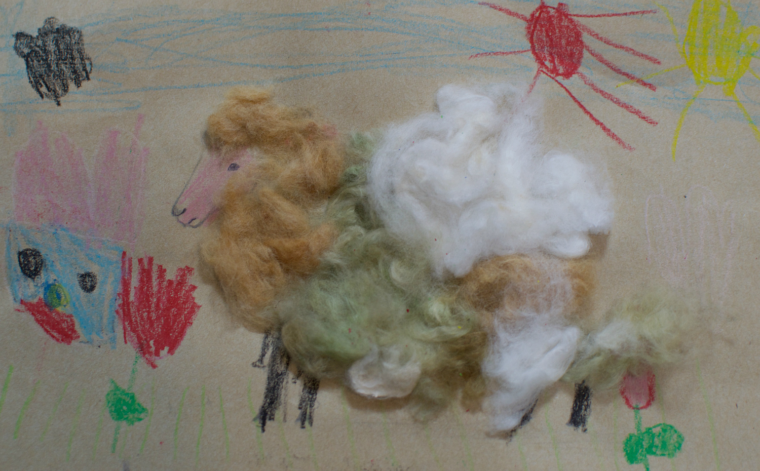 These are the three colors that organic cotton grows in naturally: brown, green, and cream. I'm no cotton expert, so when I looked into it, I learned that the green apparently comes from the wax layers and the brown from tannin in the fibers.