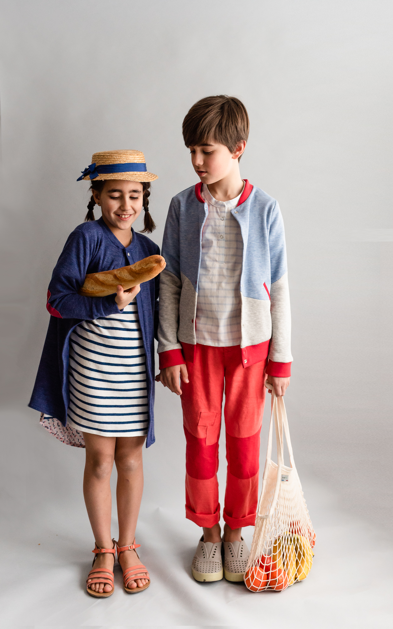 kids dressed in handmade clothes from pdf patterns and ready to go to the local farmer's market.