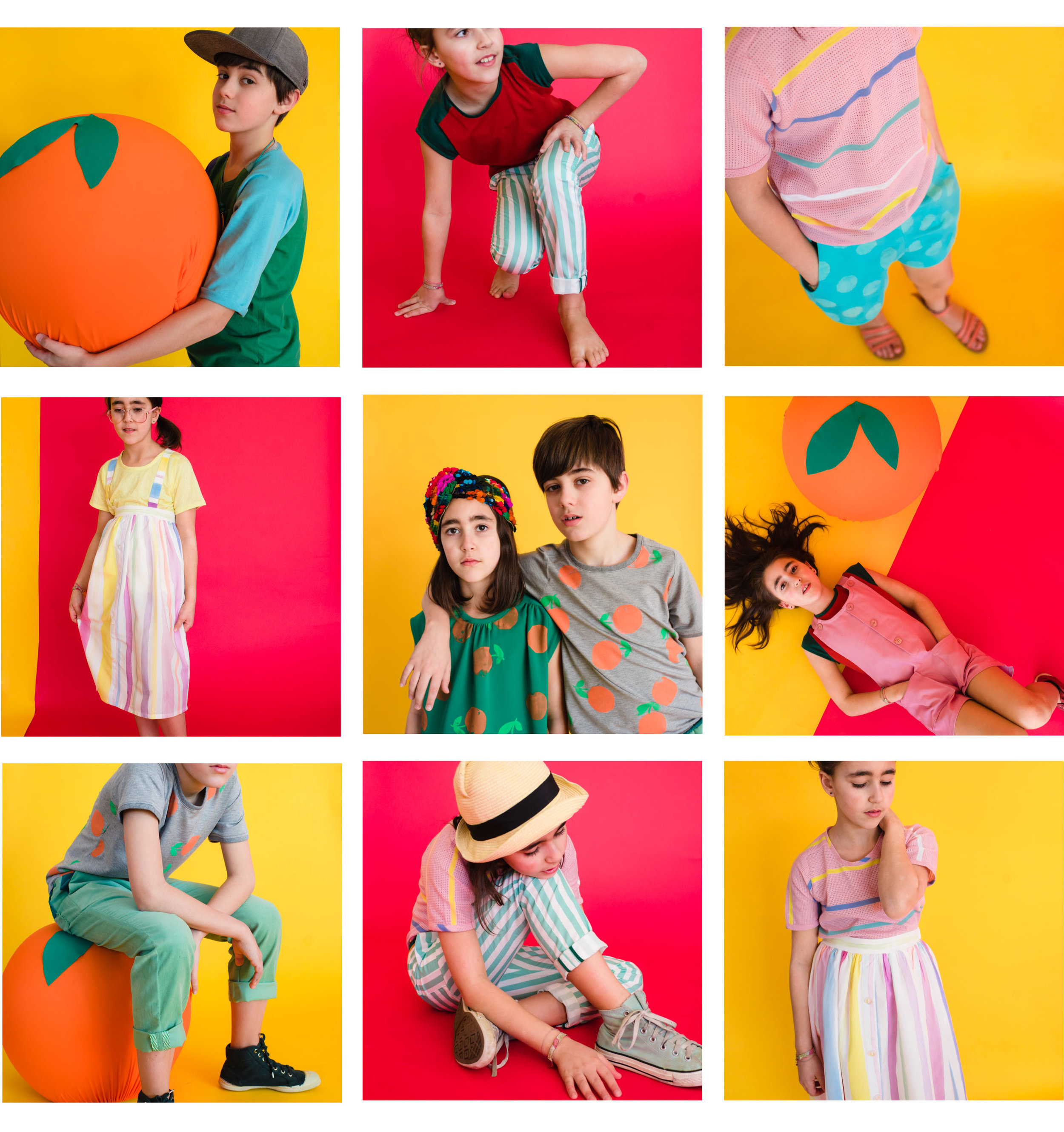 collage of a boy and girl wearing handmade clothing in colorful fabrics