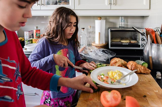 Possibly the first and last time they make such an elaborate breakfast!  They learnt how to make scrambled eggs at school and couldn't wait to show us.  They weren't so excited to eat it! 😋  This photo is part of this weeks @shamoftheperfect collective blog post. I can't believe this project will be ending soon. 😢 #shamoftheperfect  #familyphotography#familyphotojournalism#childhoodeveryday#childhoodunplugged#candidchildhood#definethejourney#illuminateclasses#documentyourdays#kidsforreal#motherhoodrising#dearphotgrapher#thefamilynarrative#thesincerestoryteller#dfpcommunity#documentaryfamilyphotography#storytellingphotography#montrealfamilyphotographer#montrealphotographer#montrealfamilyphotojournalist#familyphotojournalist#photodocumentairefamille#fleetingtotimeless#thebeautifulreal#motherhoodiscolourful