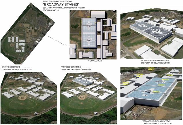 The proposed production studios in Staten Island, currently Arthur Kill Correctional Facility
