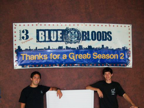 """""""Blue Bloods,"""" filmed at Broadway Stages, is helping Rock And Wrap It Up! fight poverty."""