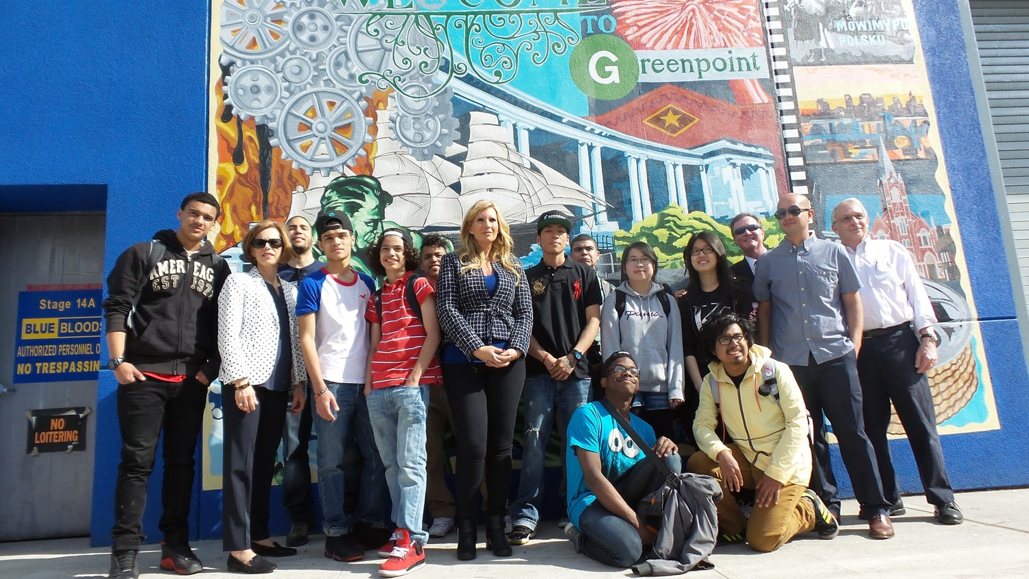 Broadway Stages president Gina Argento (center) and Participants of the Groundswell Community Mural Project