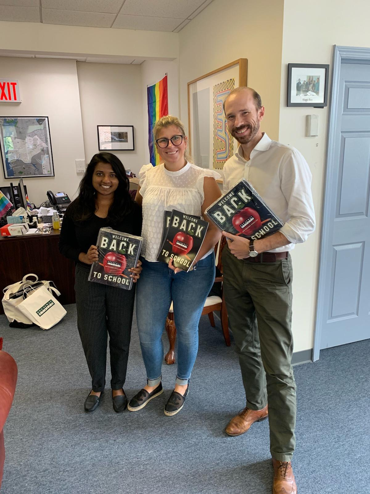 Members of Councilman Van Bramer's staff are pictured here with Monica Holowacz (center), Community Relations Director at Broadway Stages, who dropped off school supplies to support the 10th annual drive!