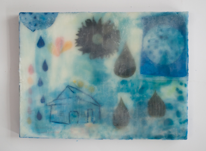 Waiting for Spring.   I have also been playing with wax resists and dying paper and stitchingbits back into saidpaper. My studio is strewn with strands of folded, dyed, stitched papers...just wanted to share a peek at that too, more on this too come.