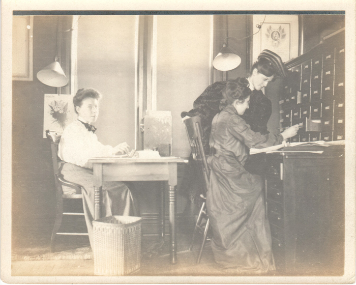 Historic image of women at work in the office where the Power to the Polls Image was made.