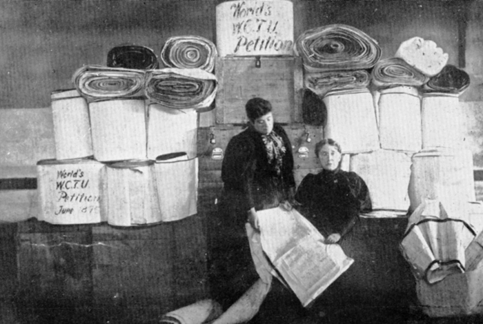 Historic Image of the Polyglot Petitions gathered by the WCTU.