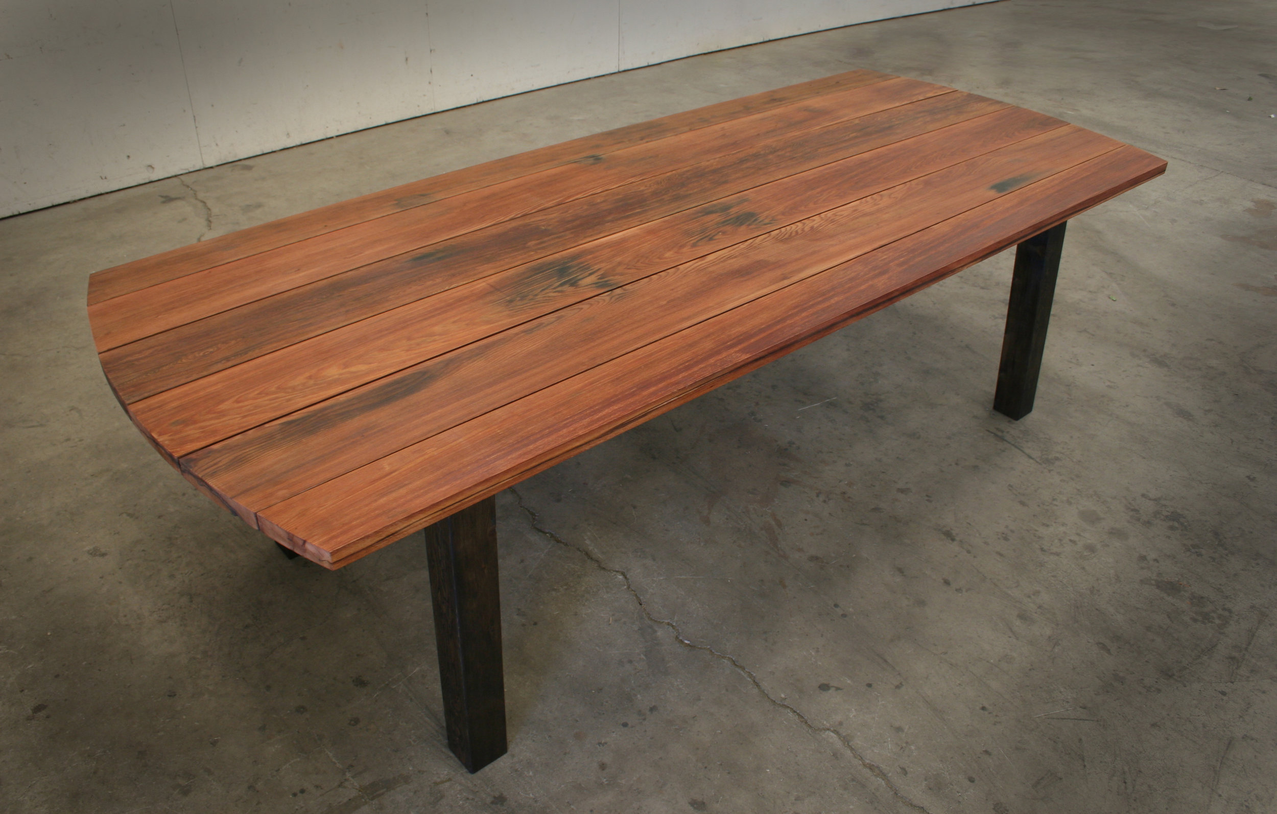 Reclaimed Redwood Table.  Top View.