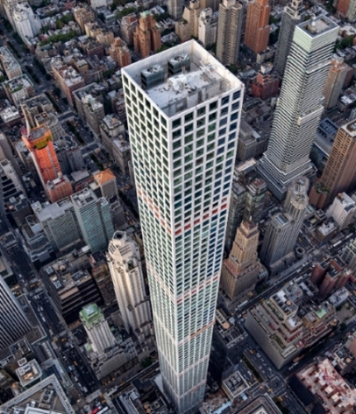 Currently the tallest residential building in the world, 432 Park Avenue tops out at 1,396 ft.