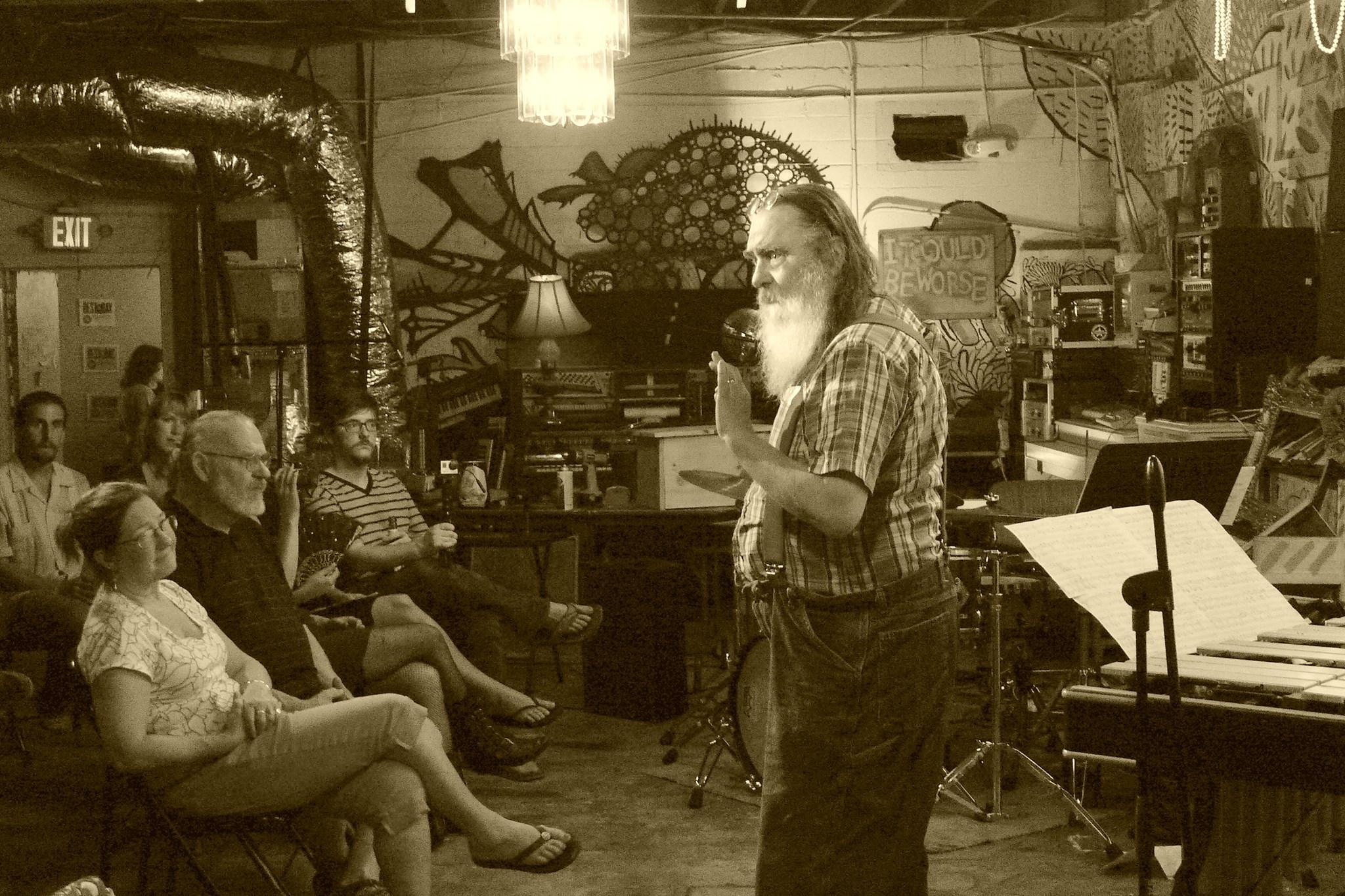 Stuart Saunders Smith speaks atHCM 4: Works For Percussion. Photo Credit: Luis Gottardi