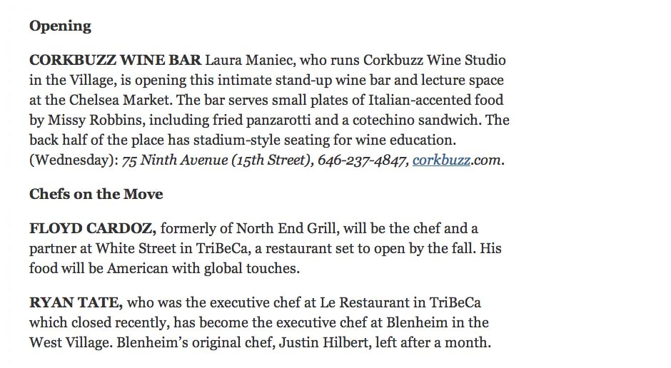 Ryan Tate, who was the executive chef at Le Restaurant in TriBeCa which closed recently, has become the executive chef at Blenheim in the West Village.