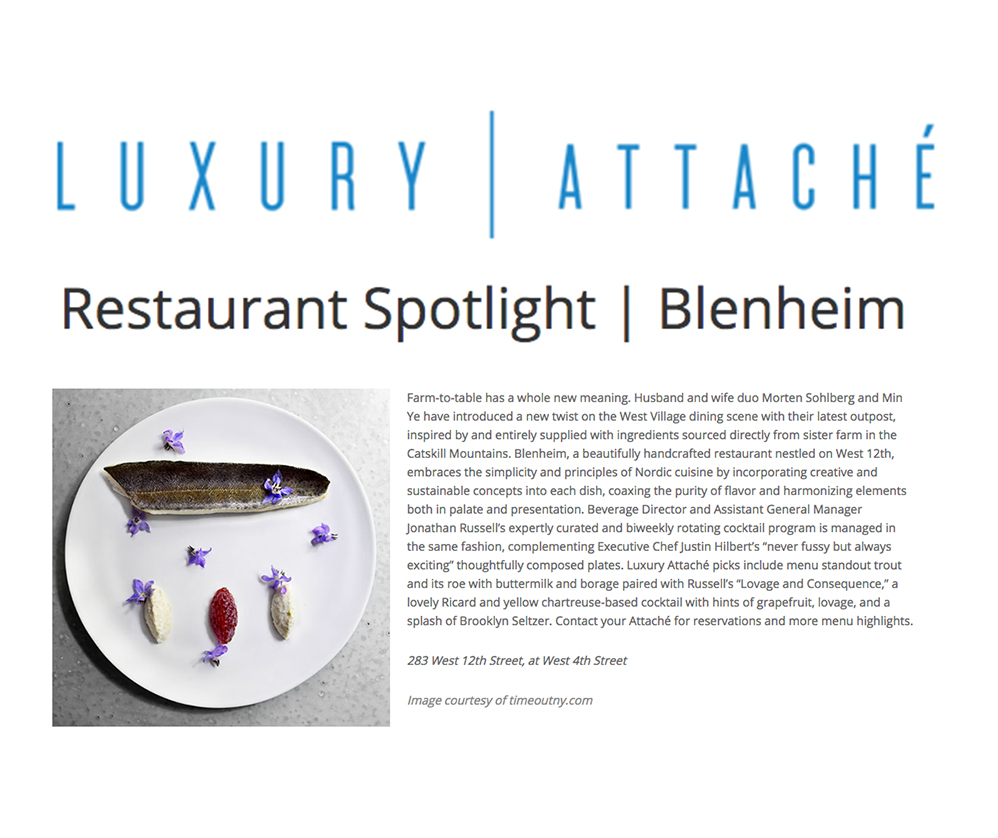 Blenheim, a beautifully handcrafted restaurant nestled on West 12th, embraces the simplicity and principles of Nordic cuisine by incorporating creative and sustainable concepts into each dish