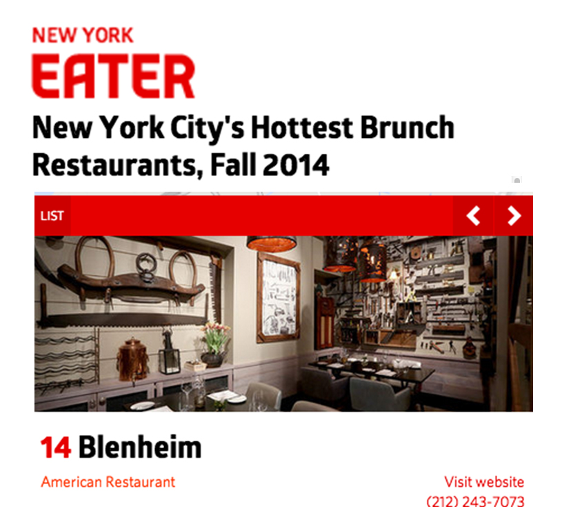 Blenheim is one of NYC's Hottest Brunch Spots! From our house made brioche french toast to our Blenheim Hill Farm herb omelette, we offer a fresh take on your favorite classics.