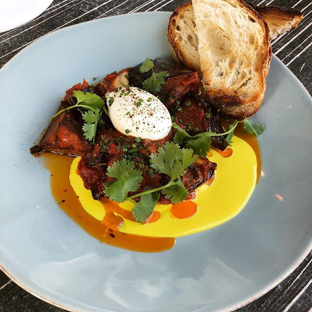 Poached Egg with Eggplant; spicy, savory, and supremely craveable