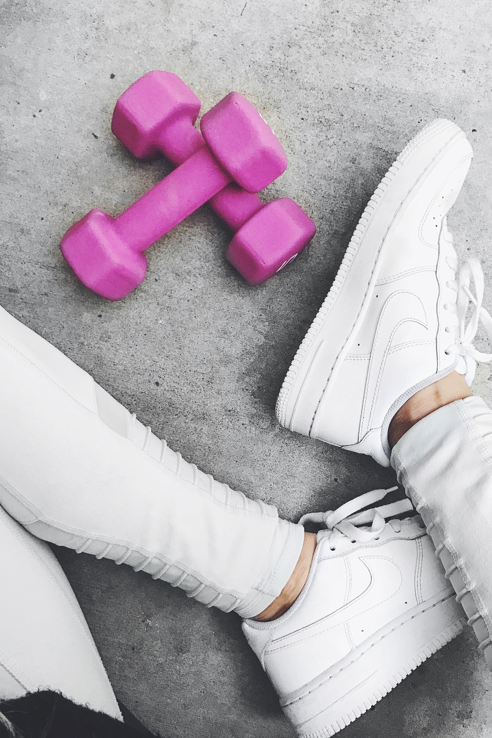 Workout / Get Fit / Pink Weights / Cute Workout Equipment / White Nike Air Force Ones  / Instagram Ideas / Kelly Fiance Creative