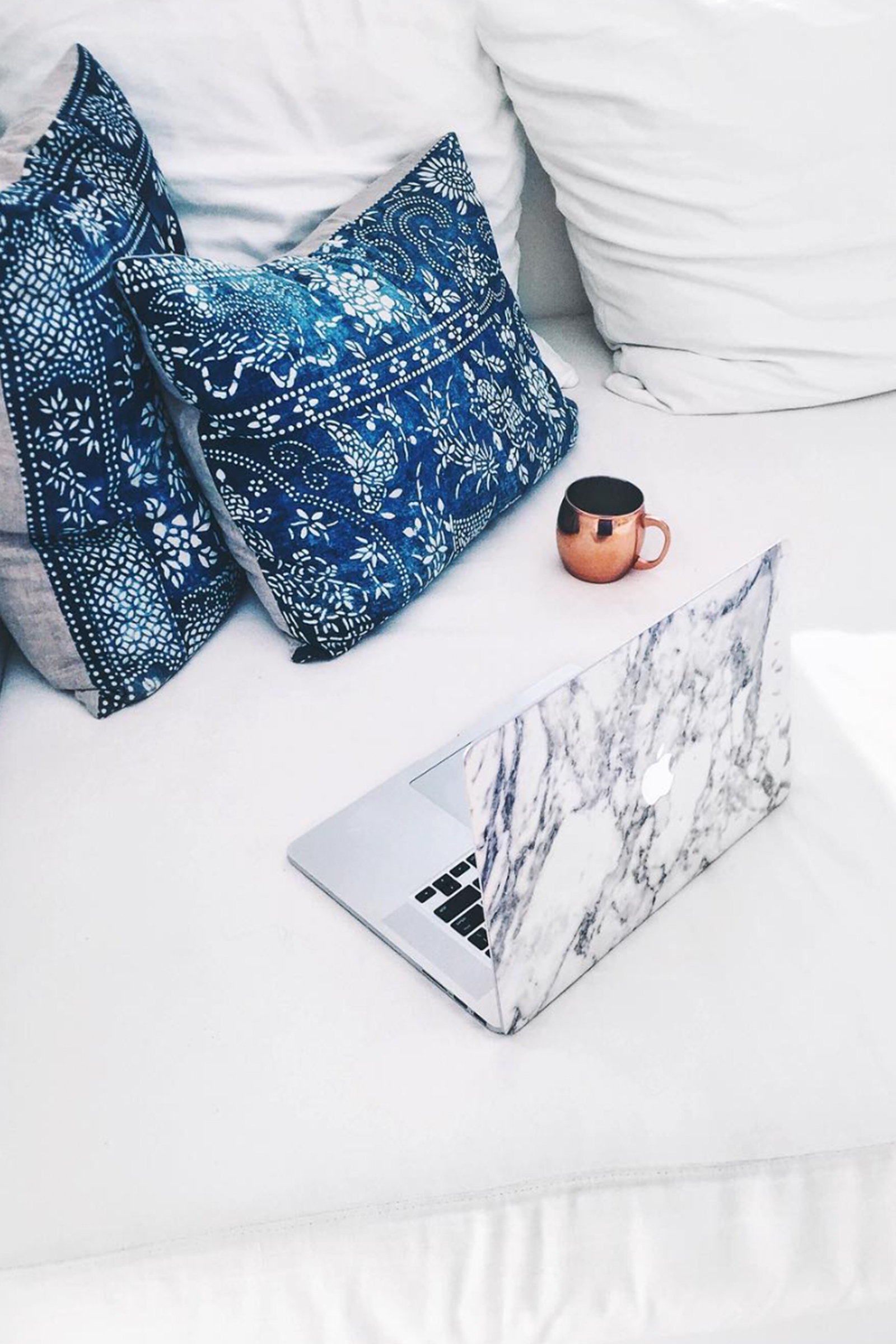 Cozy Work Station / Coffee / Marble Laptop Cover / Mudcloth Pillows / Home Decor / Kelly Fiance Creative