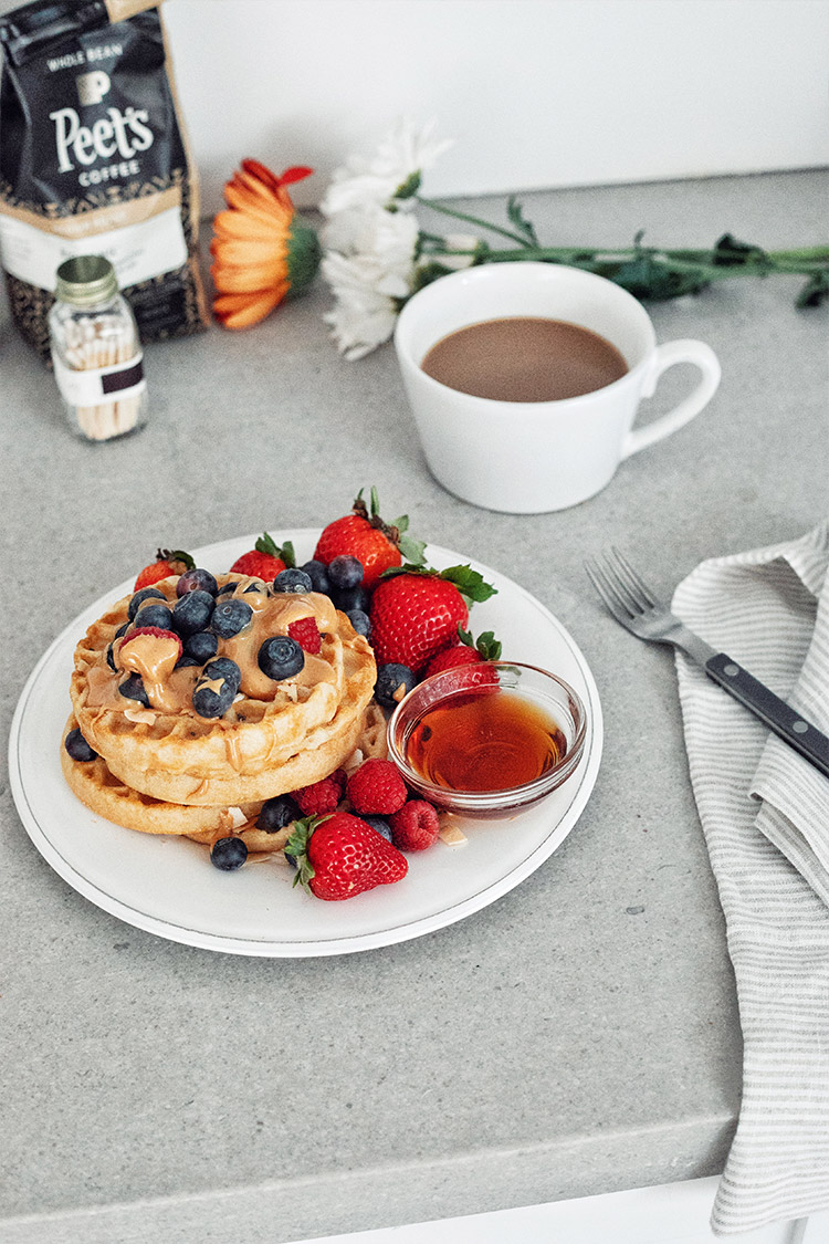 Healthy Breakfast / Waffles and Berries / Coffee / Food Styling Photography / Kelly Fiance Creative