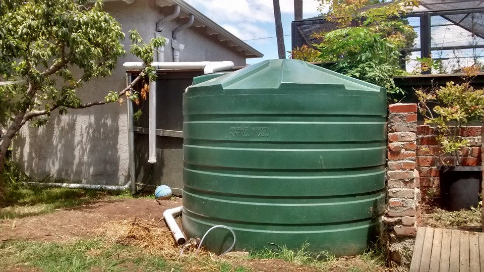 This 1320 gallon rainwater tank catches water from the neighbor's garage roof!