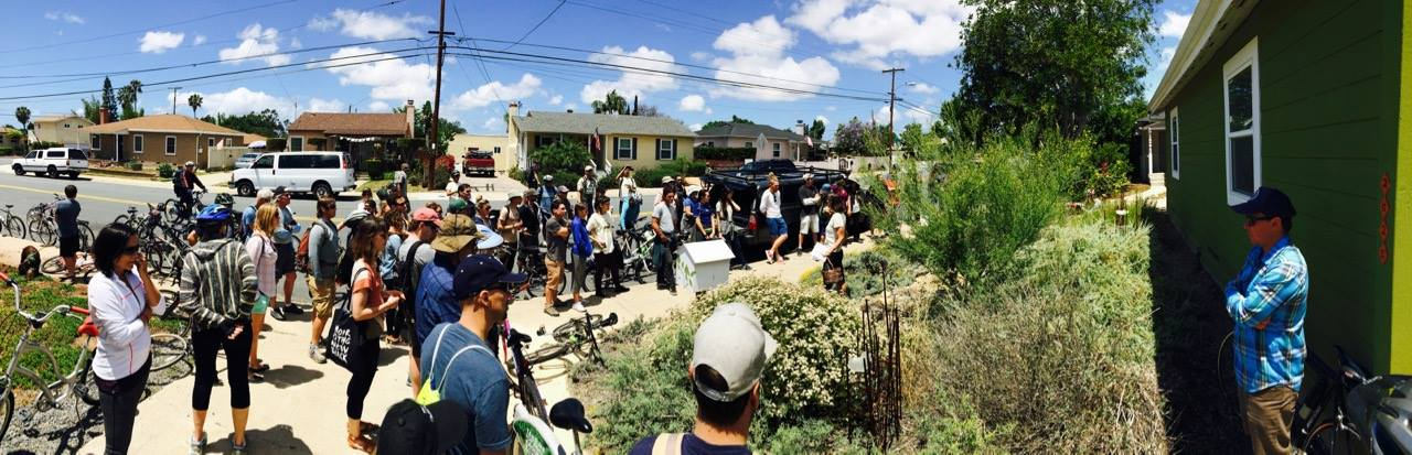 Tour goers see a no-water landscape, well established, with natives, pollinators, and birds flourishing.