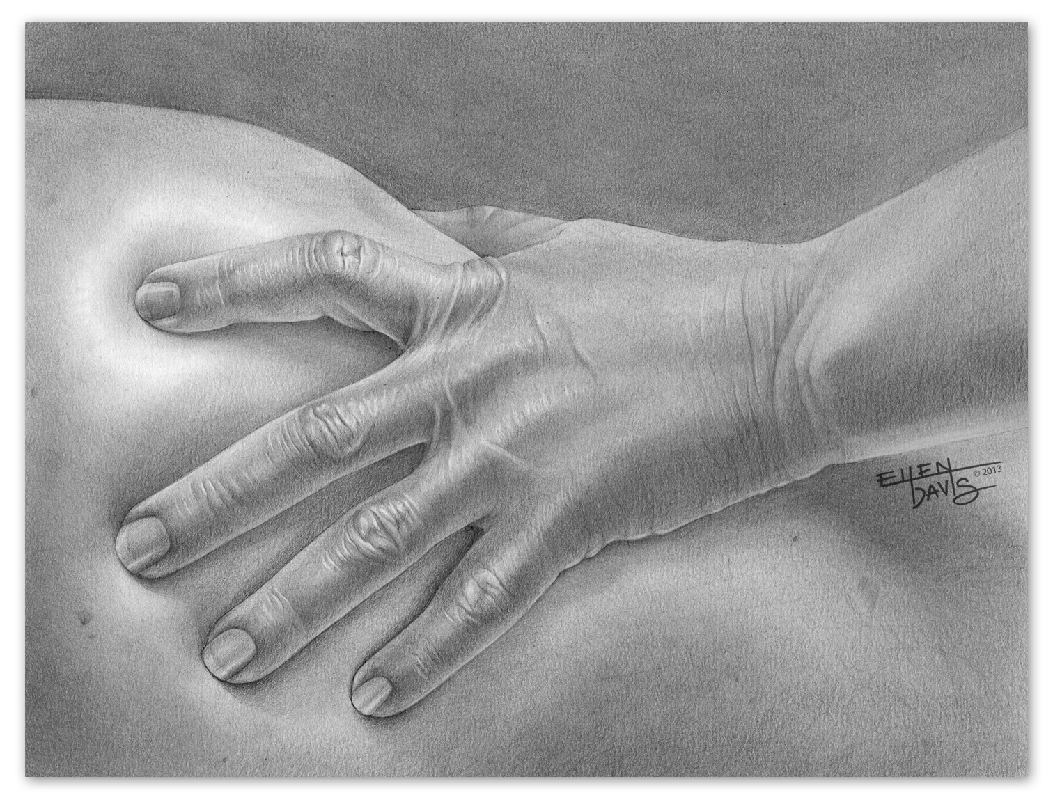 Study of a Hand   Medium:  Graphite  Objective:  To correctly depict the form and features of the human hand.  © 2013 Ellen Davis