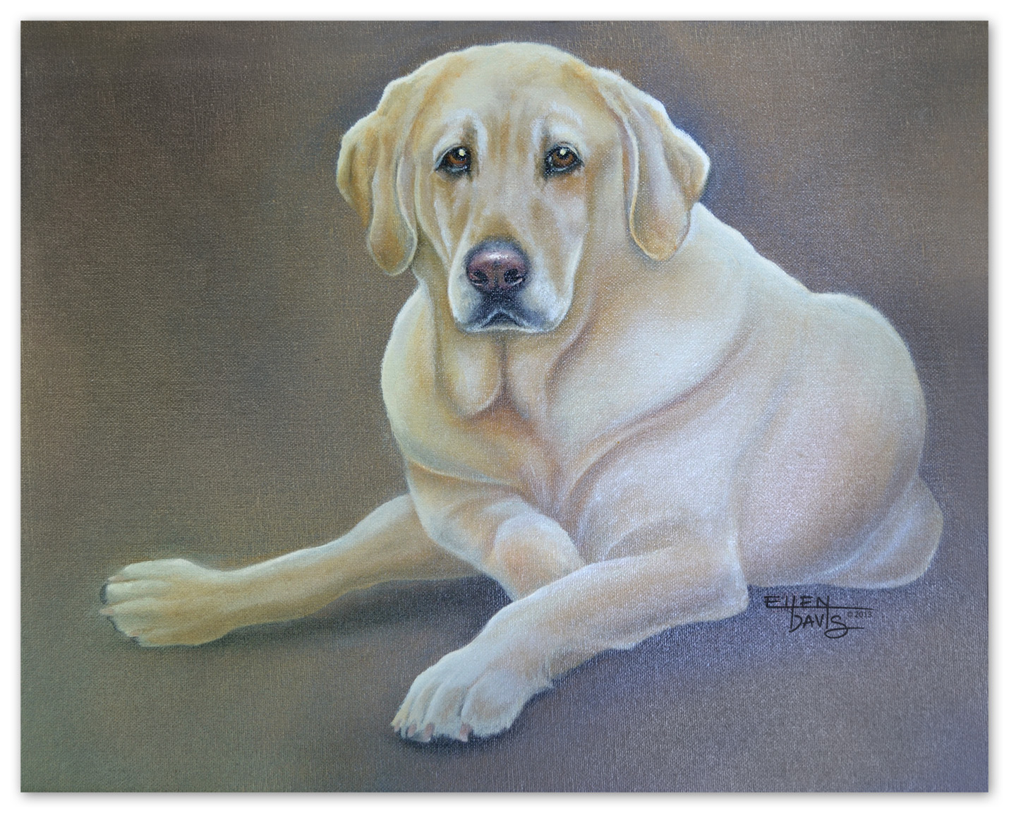Portrait of Champ   Medium: Oil Paint  Objective: To correctly capture both form and personality of a family pet.  © 2013 Ellen Davis
