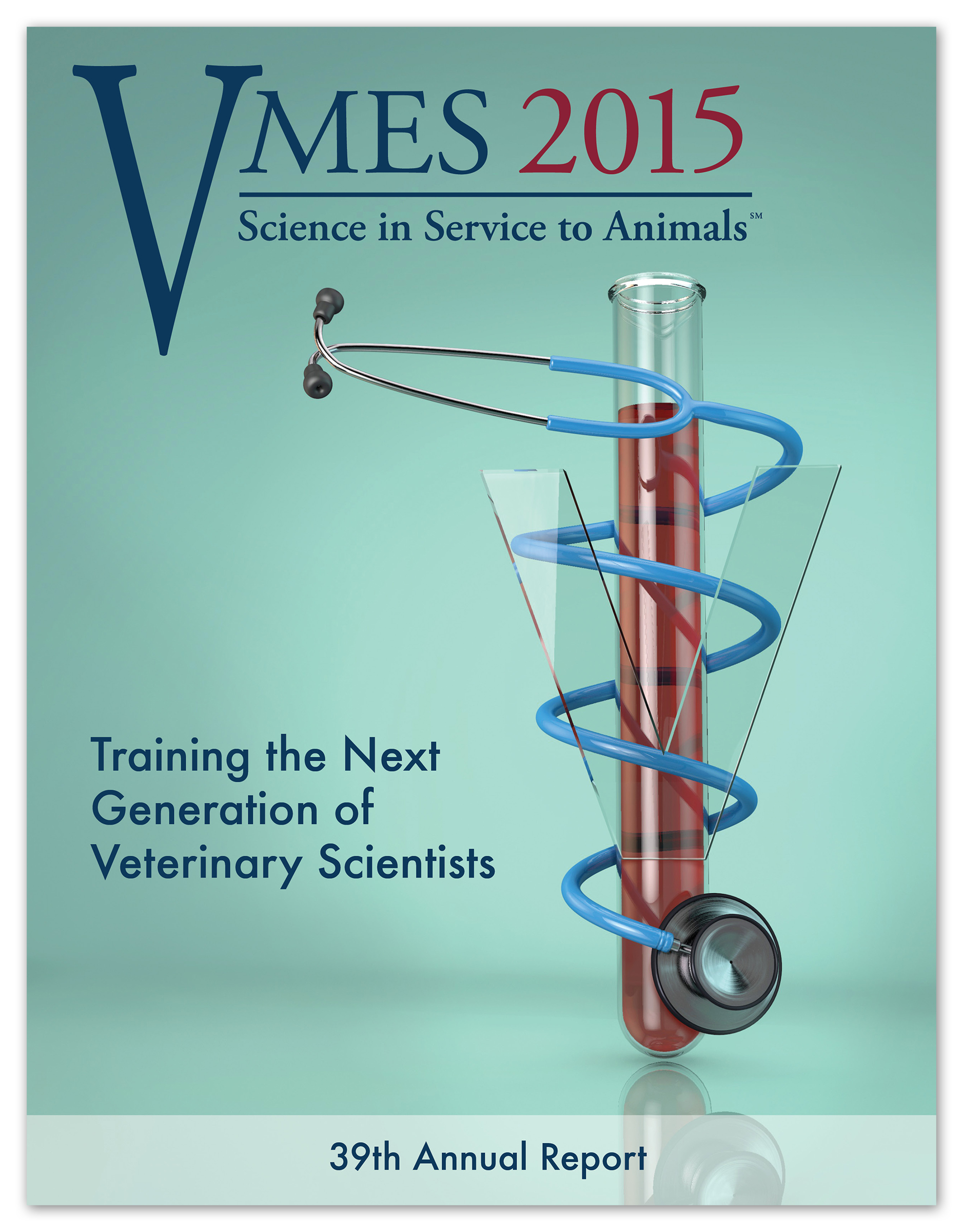 2015 VMES Report Cover   Medium: Maxon Cinema 4D,Photoshop, and InDesign  Objective: To create an editorial cover for a veterinary research publication addressing the importance of laboratory research in the service of animal health.  © 2015 The University of Georgia