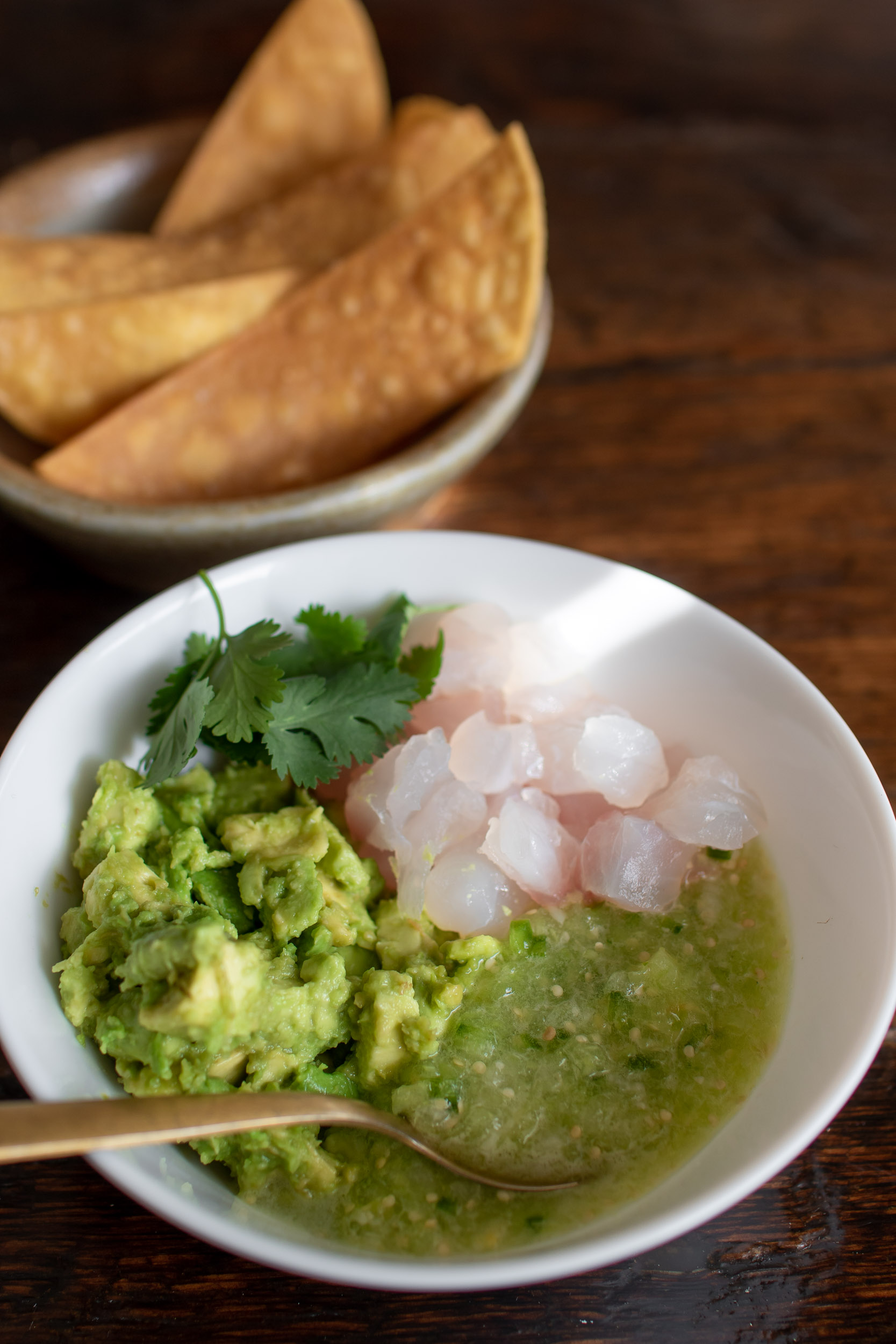 Carl Dooley's Tomatillo Salsa with Avocado and American Red Snapper