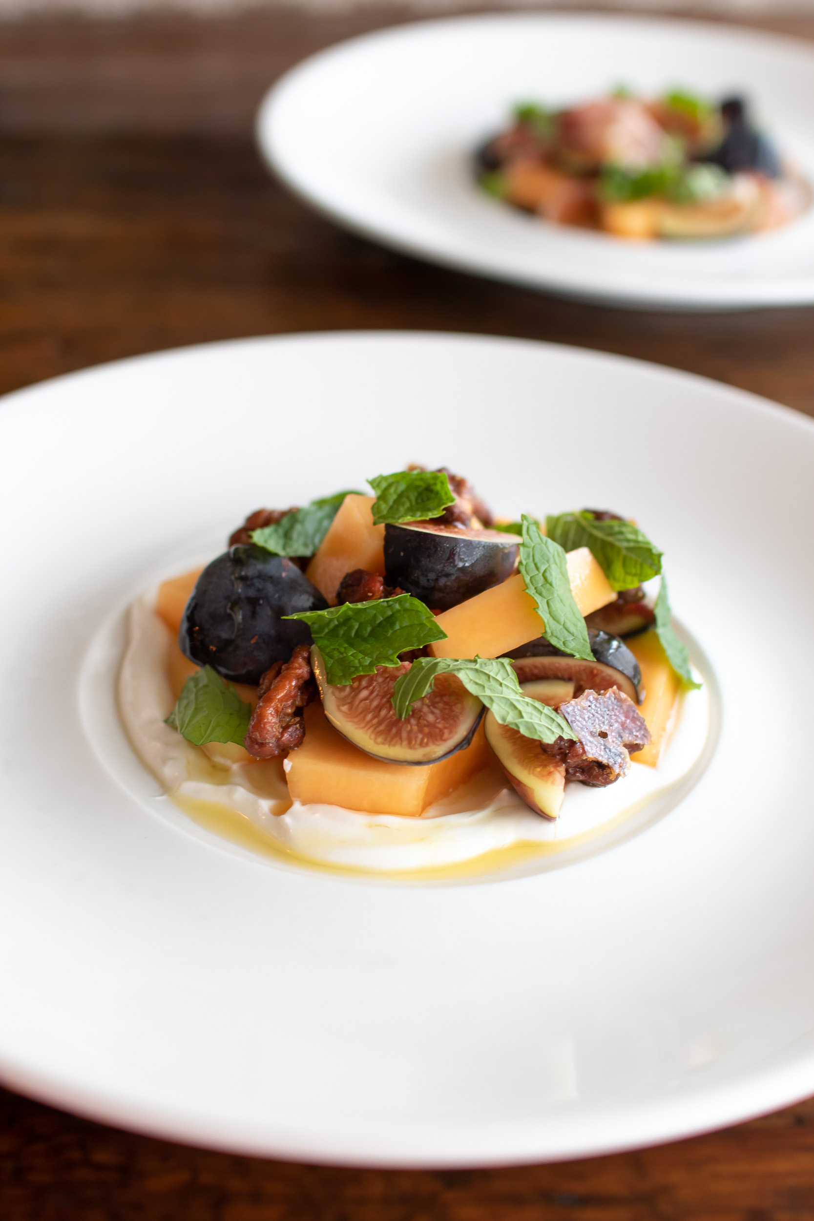 Figs & Melon with Yogurt, Honey, Candied Pecan & Mint // photo by Stephanie Cornell