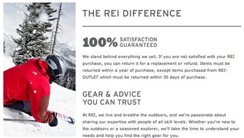 The REI Difference and Guarantee