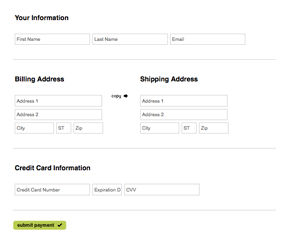 Short checkout form example