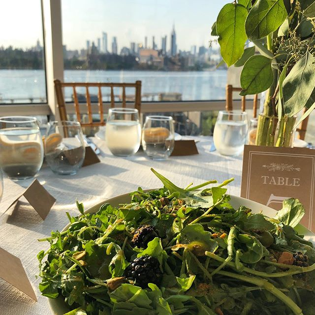 Setting out a family-style dinner at the @w_loft this past weekend for a large sunset wedding- with the NY city scape as the perfect, romantic backdrop  #HarvestandRevel #BKVenues #wloft