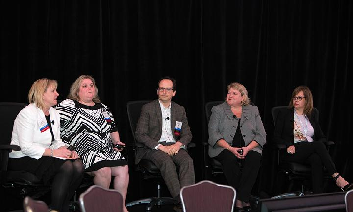 Laurel Pickering (President & CEO of NEBGH), Kathleen Harris (Vice President of Benefits at Time Warner Inc), Marco Diaz (Vice President and Global Head of Benefits at News Corp), Jill Berger (Vice President of Health and Welfare at Marriott International Inc), Danielle Shanes (Vice President of Benefits at Reed Elsevier Inc)