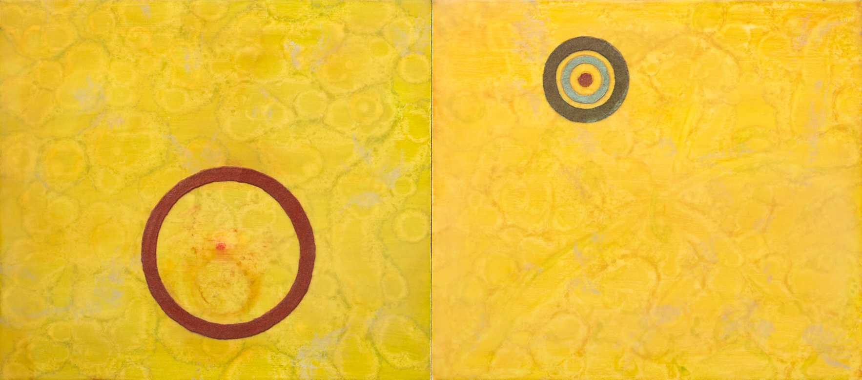 """Gemini"", encaustic painting on panel, 14"" x 31.5"" © Tom Gormally"