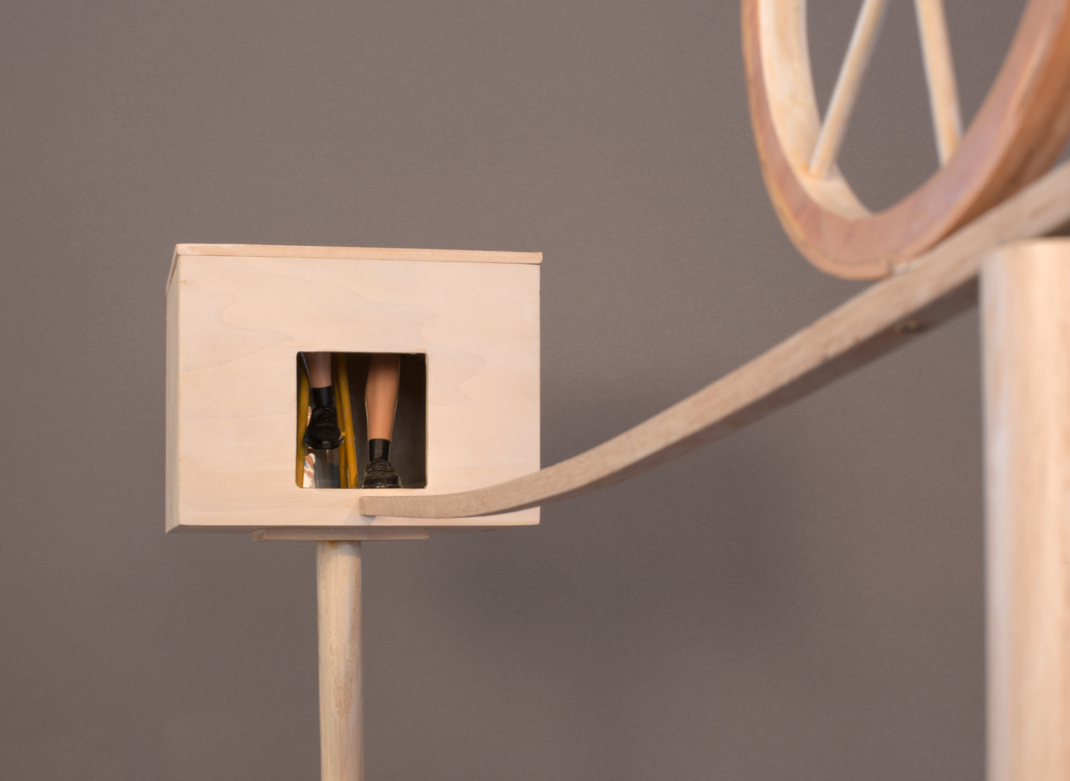 """""""Tightrope"""" (detail), 64"""" h x 7"""" w x 42"""" d, wood, mylar, solar collector and light bulb, found object; ©Tom Gormally 2014"""