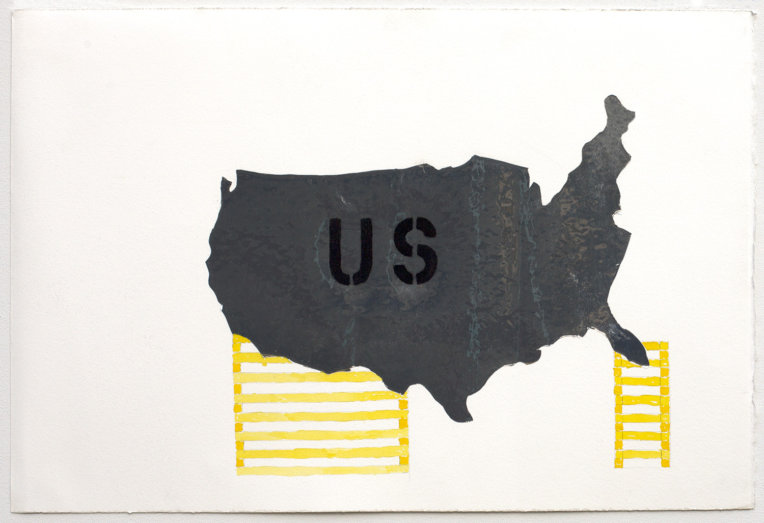 """US Under Construction"", 2017, mylar, graphite, gouache, flocking, on paper, 15"" x 22"" © Tom Gormally"