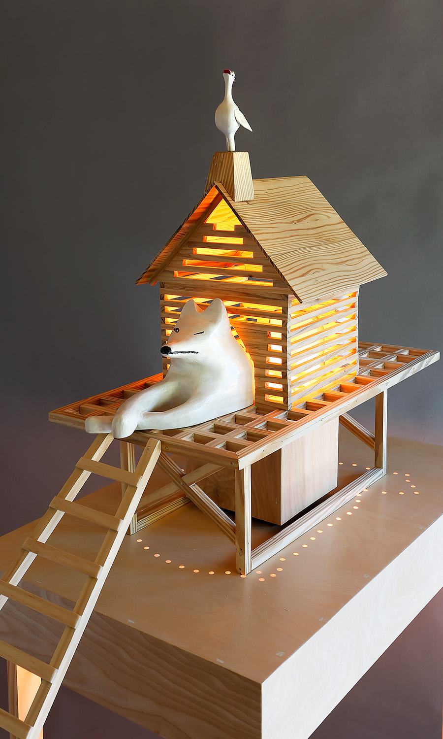 """Fox in a Hen House"", 69"" h x 17"" w x 36"" d; wood, stain, paint, LED lights; © Tom Gormally 2018"