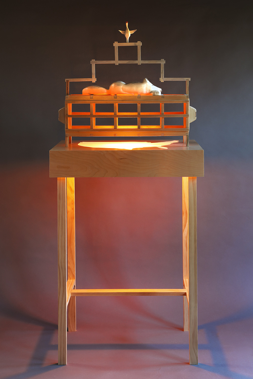 """Fox Trap"", 65"" h x 28"" w x 16"" d; wood, stain, plexiglass, acrylic paint, LED light; © Tom Gormally 2018"