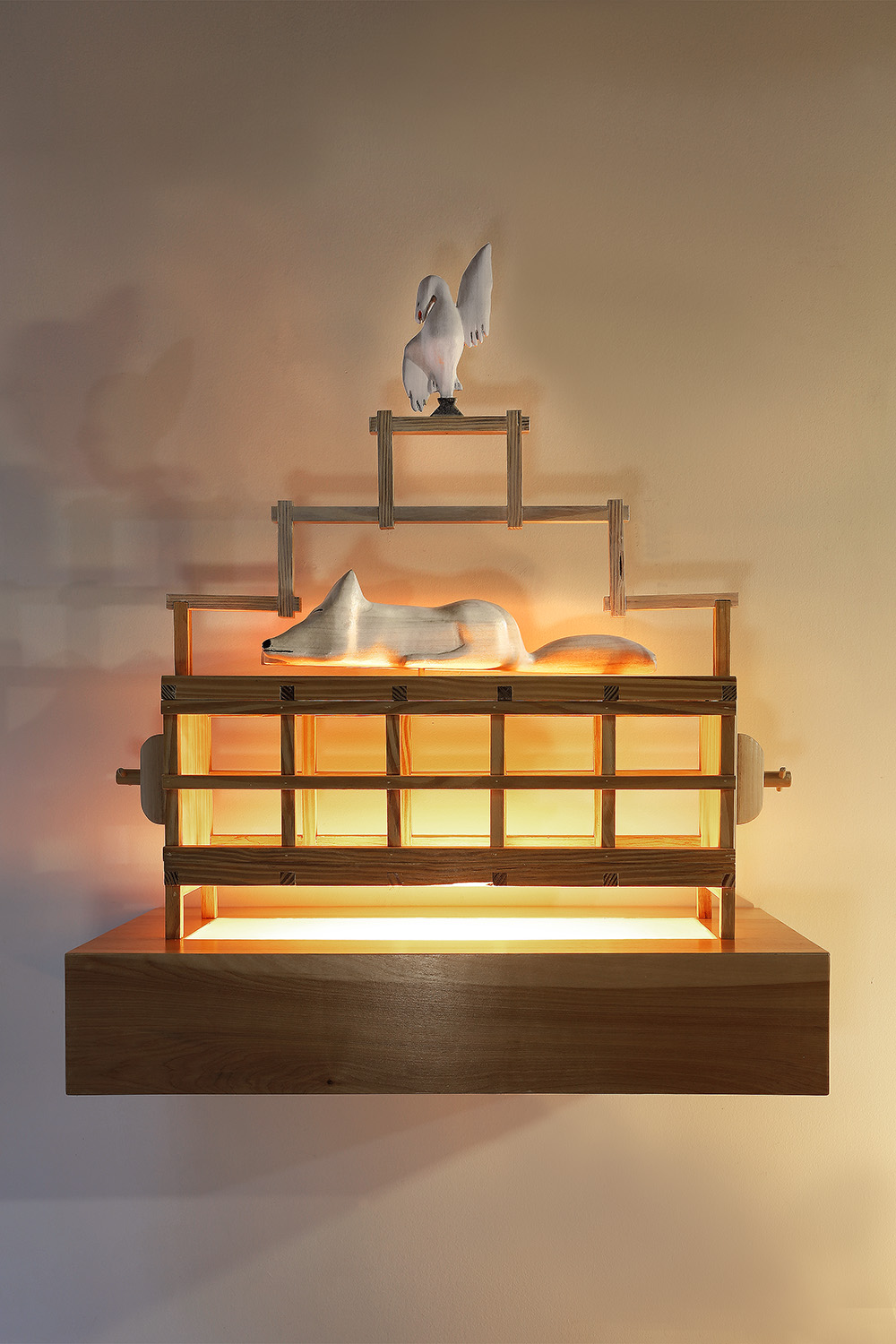 """Fox Trap II"", 33"" h x 27"" w x 12"" d; wood, stain, plexiglass, acrylic paint, LED light; © Tom Gormally 2019"