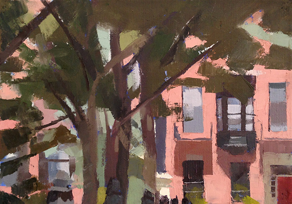 Louisburg Square -- 10 x 14, Oil on Linen