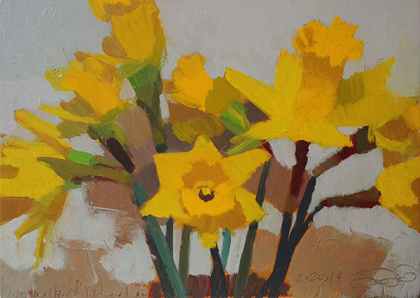 Daffodils 2 -- 6 x 8, Oil on Panel