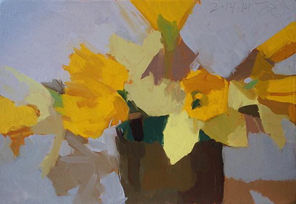 Wilson's Daffodils -- 6 x 8.5, Oil on Panel