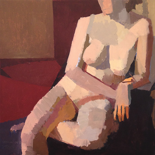 April Sitting -- 21 x 21, Oil on Linen