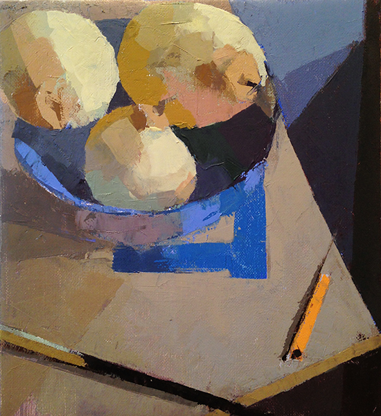 Pencil, Pears, & Brush -- 10 x 9, Oil on Linen