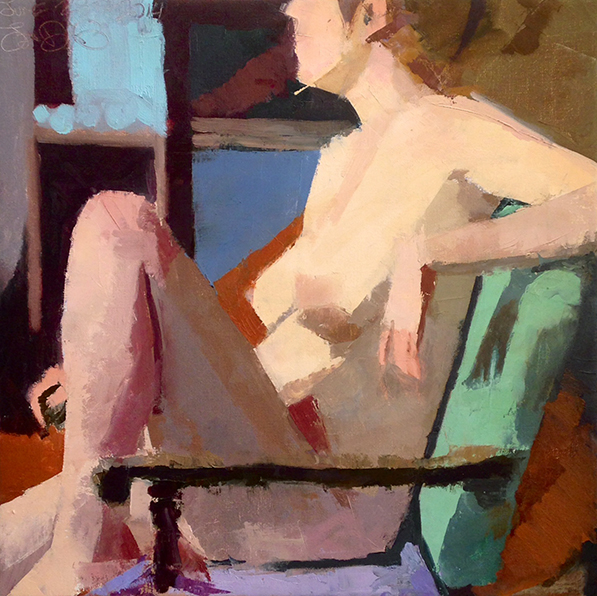 In the Green Chair -- 17 x 17, Oil on Linen