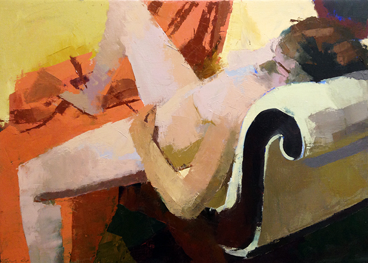 Reclining on Yellow -- 18 x 25, Oil on Linen