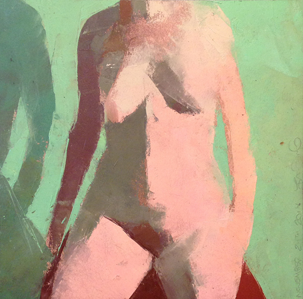 Nude with Green -- 10 x 10, Oil on Paper on Panel