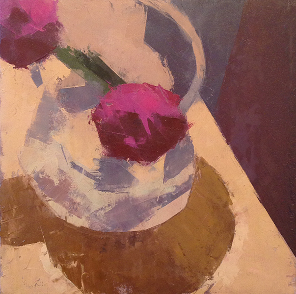 Night Peonies -- 10 x 10, Oil on Paper on Panel